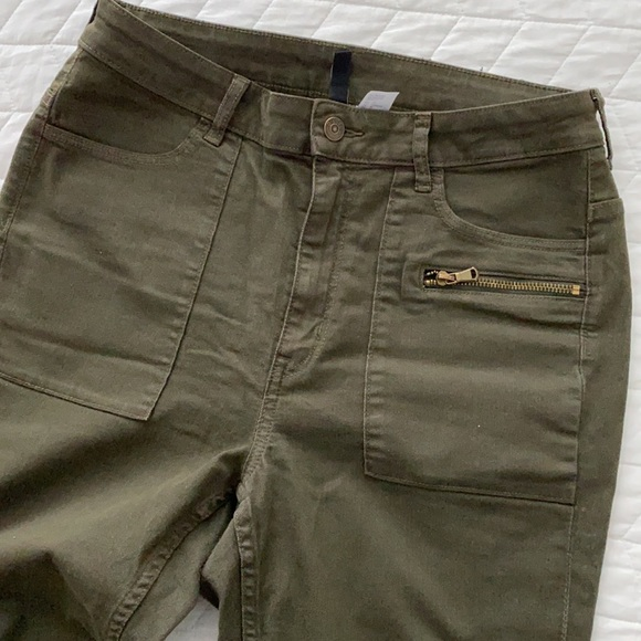 Skinny stretchy high-rise Military Green jeans